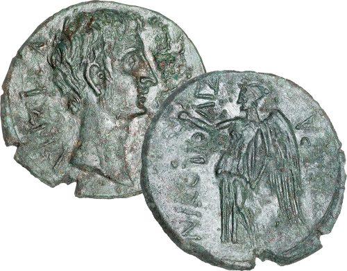 Χάλκινο νόμισμα Νικόπολης με τον Οκταβιανό και τη Νίκη με την επιγραφή ΝΙΚΟΠΟΛΙΣ, 27 π.Χ. - 14 μ.Χ.