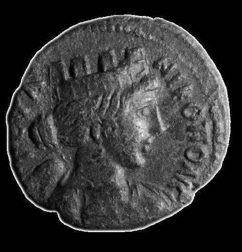 Νόμισμα Νικόπολης με προτομή Νίκης-Τύχης και την επιγραφή NIKOPOLIC